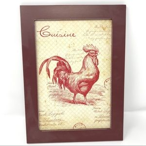 Down on the Farm Rooster Framed Picture-NWT